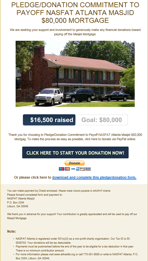 NASFAT ATLANTA - PLEDGE/DONATION COMMITMENT TO PAYOFF NASFAT ATLANTA MASJID $80,000 MORTGAGE